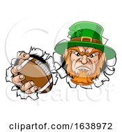 Poster, Art Print Of Leprechaun Football Mascot Ripping Background