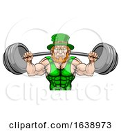 Poster, Art Print Of Leprechaun Mascot Weightlifter Lifting Big Barbell
