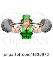 Leprechaun Mascot Weightlifter Lifting Big Barbell