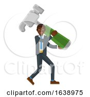 Black Business Man Holding Hammer Mascot Concept