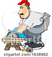 Poster, Art Print Of Cartoon White Male Carpenter Using A Circular Saw