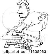 Cartoon Black And White Male Carpenter Using A Circular Saw