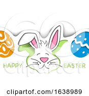 Poster, Art Print Of Happy Easter Greeting With A Bunny Rabbit And Eggs