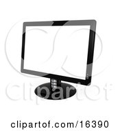 Black Flat Screen Computer Monitor Screen Clipart Illustration Graphic by 3poD