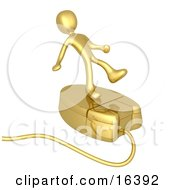 Gold Person Trying To Maintain His Balance While Riding On A Golden Computer Mouse And Surfing The Internet