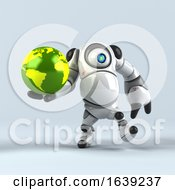 3d Round Robot Character On A Shaded Background by Julos