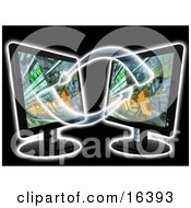 Two Black Flat Screen Lcd Computer Monitor Screens Facing Eachother And Transfering Data Clipart Illustration Graphic