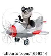 3d Panda Aviator Pilot Flying An Airplane On A White Background