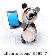 3d Panda With A Cell Phone On A White Background