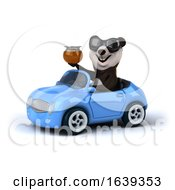 3d Panda Driving A Convertible Car On A White Background