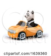 3d Business Panda Driving A Convertible Car On A White Background