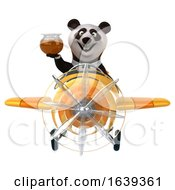 3d Business Panda Flying A Airplane On A White Background