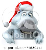 3d Chubby White Christmas Horse On A White Background by Julos