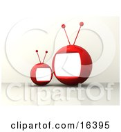 Two Red And Round Television Monitors Witn Antennae