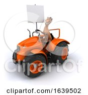 3d Brown Horse Operating A Tractor On A White Background