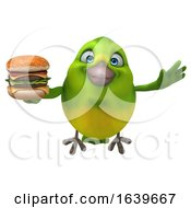 3d Green Bird On A White Background by Julos