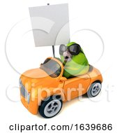3d Green Bird Driving A Convertible On A White Background by Julos