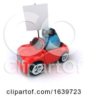 3d Bluebird Driving A Convertible Car On A White Background