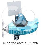 3d Bluebird Aviator Pilot Flying An Airplane On A White Background