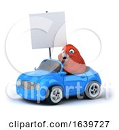 3d Red Bird Driving A Convertible Car On A White Background
