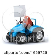 3d Red Bird Operating A Tractor On A White Background
