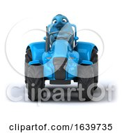 3d Bluebird Farmer Operating A Tractor On A White Background