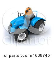 3d Robin Operating A Tractor On A White Background