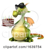 3d Green Dragon Holding A Birthday Cake On A White Background