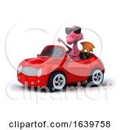 Poster, Art Print Of 3d Pink Dragon Driving A Convertible Car On A White Background