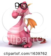 Poster, Art Print Of 3d Pink Dragon Wearing Glasses On A White Background