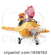 Poster, Art Print Of 3d Pink Dragon Flying An Airplane On A White Background