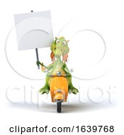 3d Green Dragon Riding A Scooter On A White Background