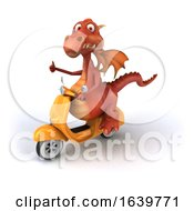Poster, Art Print Of 3d Red Dragon Riding A Turquoise Scooter On A White Background