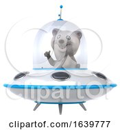 Poster, Art Print Of 3d Polar Bear Flying A Ufo On A White Background