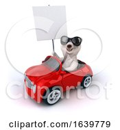 Poster, Art Print Of 3d Polar Bear Driving A Convertible On A White Background