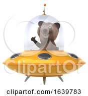 3d Brown Bear Flying A Ufo On A White Background