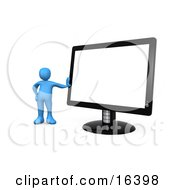 Blue Person Leaning Against A Black Flat Lcd Computer Screen Monitor