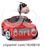 3d Cow Driving A Convertible Car On A White Background