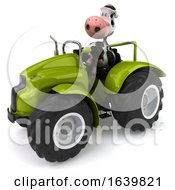 3d Cow Farmer Operating A Tractor On A White Background
