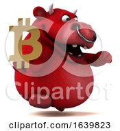 3d Red Bull Holding A Bitcoin Symbol On A White Background