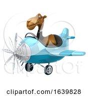 3d Business Camel Aviator Pilot Flying A Blue Airplane