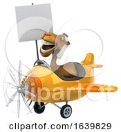 3d Arabian Camel Aviator Pilot Holding A Blank Sign And Flying An Airplane On A White Background