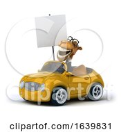 3 Business Camel Driving A Yellow Convertible Car On A White Background