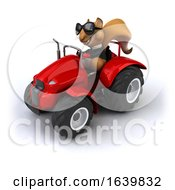 3d Business Squirrel Operating A Tractor On A White Background