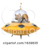 3d Business Squirrel Flying A Ufo On A White Background