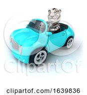 3d White Tiger Aviator Pilot Flying An Airplane On A White Background