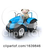 3d Sheep Operating A Tractor On A White Background