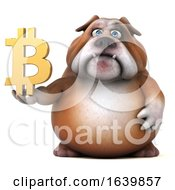 3d Bulldog Holding A Bitcoin Symbol On A White Background