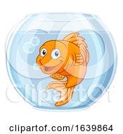Goldfish In Gold Fish Bowl Cute Cartoon Character