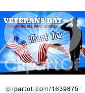 Veterans Day American Flag Soldier Saluting